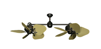 """Picture of Twin Star III Oil Rubbed Bronze with 35"""" Leaf Tan Blades"""