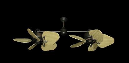 "Twin Star III Oil Rubbed Bronze with 35"" Wicker Tan Blades"