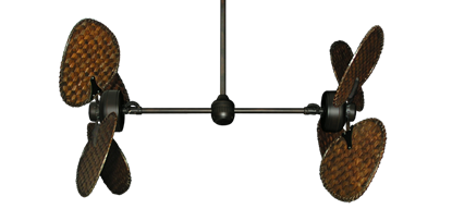 """Picture of Twin Star III Oil Rubbed Bronze with 48"""" Dark Woven Bamboo Blades"""