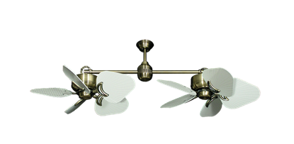 "Twin Star III Antique Brass with 35"" Leaf Pure White Blades"