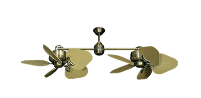"Twin Star III Antique Brass with 35"" Leaf Tan Blades"