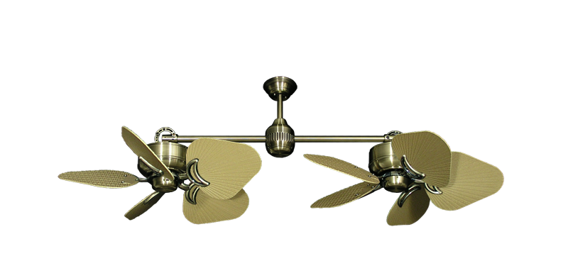 "Picture of Twin Star III Antique Brass with 35"" Leaf Tan Blades"
