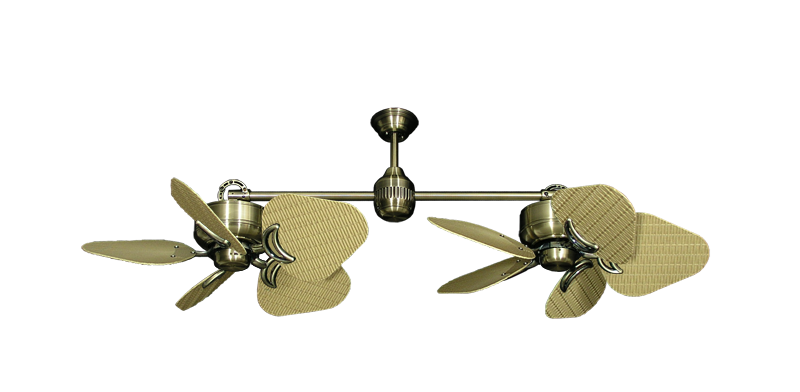 """Picture of Twin Star III Antique Brass with 35"""" Wicker Tan Blades"""