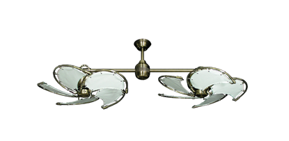 """Twin Star III Antique Brass with 30"""" Nautical Fabric Pure White Blades"""