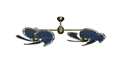 "Twin Star III Antique Brass with 30"" Nautical Fabric Blue Blades"