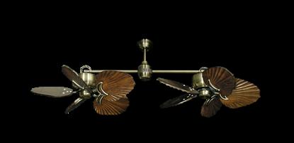 "Picture of Twin Star III Antique Brass with 35"" Series 600 Arbor Dark Walnut Blades"