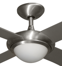 "Picture of 52"" Luna Indoor Outdoor Ceiling Fan and Light in Brushed Aluminum with Remote Control"