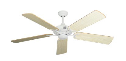 "Picture of Coastal Air Pure White with 52"" Bleached Oak Gloss Blades"