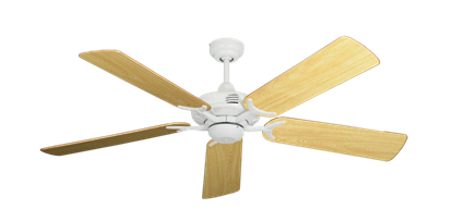 "Picture of Coastal Air Pure White with 52"" Honey Oak Gloss Blades"