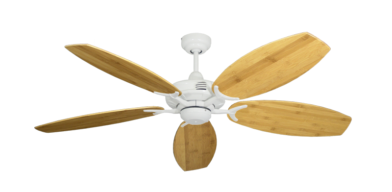 "Picture of Coastal Air Pure White with 52"" Oar Bamboo Brown Blades"