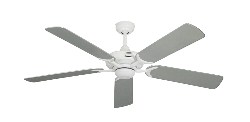 """Picture of Coastal Air Pure White with 52"""" Outdoor Brushed Nickel Blades"""