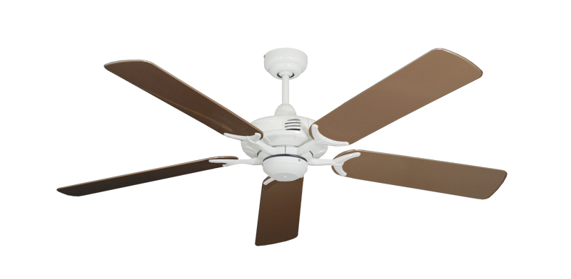 """Picture of Coastal Air Pure White with 52"""" Outdoor Brown Blades"""