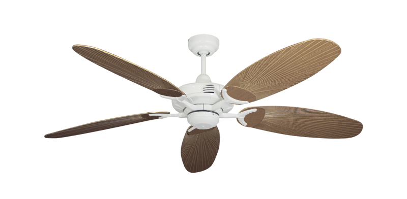 """Picture of Coastal Air Pure White with 52"""" Outdoor Leaf Tan Blades"""