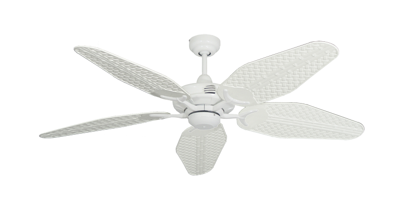 """Picture of Coastal Air Pure White with 52"""" Outdoor Weave Pure White Blades"""