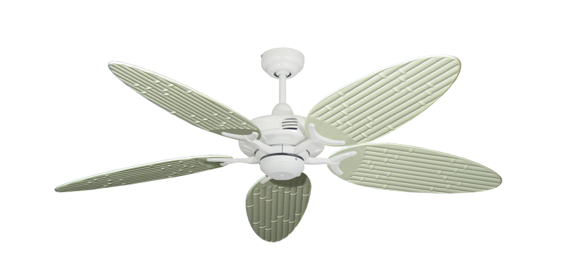"""Coastal Air Pure White with 52"""" Outdoor Bamboo Antique White Blades"""