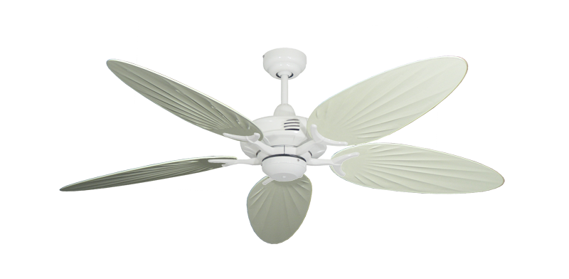 "Coastal Air Pure White with 52"" Outdoor Palm Antique White Blades"