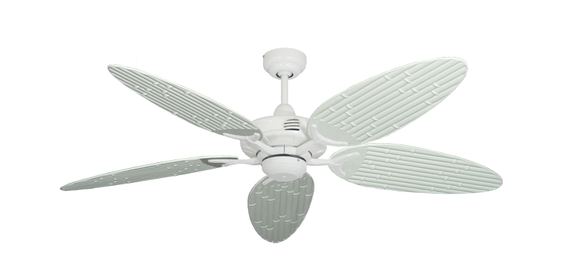 """Picture of Coastal Air Pure White with 52"""" Outdoor Bamboo Pure White Blades"""
