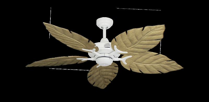 "Coastal Air Pure White with 52"" Venetian Walnut Blades"