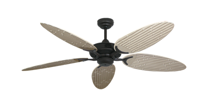 """Coastal Air Oil Rubbed Bronze with 52"""" Outdoor Bamboo Distressed White Blades"""