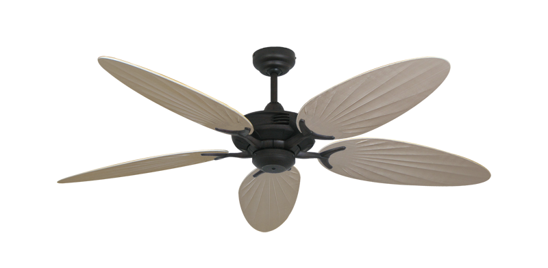 """Coastal Air Oil Rubbed Bronze with 52"""" Outdoor Palm Distressed White Blades"""