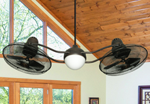 Picture of Duet Caged 2x15 in. Indoor/Outdoor Oil Rubbed Bronze Ceiling Fan with Light