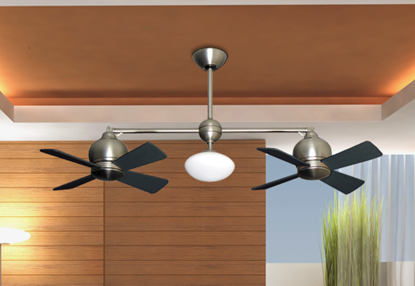 "24"" Metropolitan Dual Ceiling Fan with Light in Satin Steel"