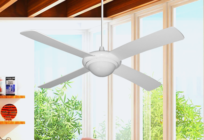 "52"" Luna Indoor Outdoor Ceiling Fan and Light in Pure White with Remote Control"