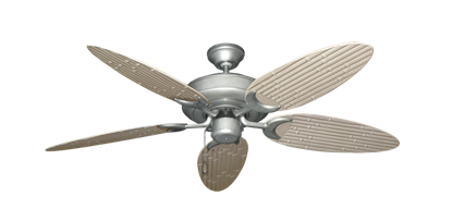 """Picture of Raindance Brushed Nickel BN-1 with 52"""" Outdoor Bamboo Distressed White Blades"""