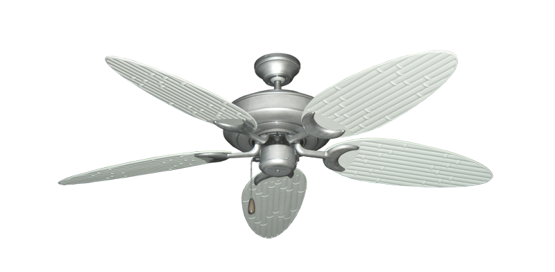"""Raindance Brushed Nickel BN-1 with 52"""" Outdoor Bamboo Pure White Blades"""