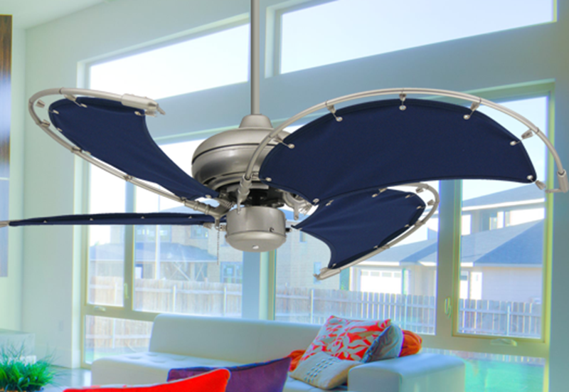 Voyage 40 in. Indoor/Outdoor Brushed Nickel Ceiling Fan with Blue Fabric Blades (bn-1)