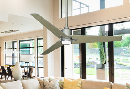 "Picture of Reveal 52"" Wifi Enabled Indoor/Outdoor Modern Ceiling Fan in Brushed Nickel with Remote and LED Light"