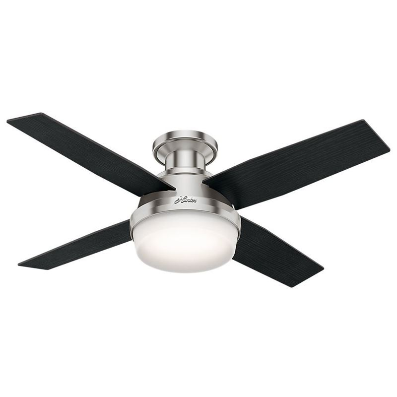 """Picture of Hunter  44"""" Dempsey Low Profile with Light Brushed Nickel Ceiling Fan with Light with Handheld Remote, Model 59243"""