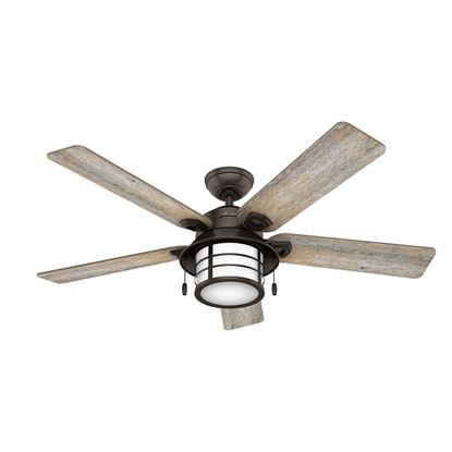 "Picture of Hunter  54"" Key Biscayne Onyx Bengal Ceiling Fan with Light , Model 59273"