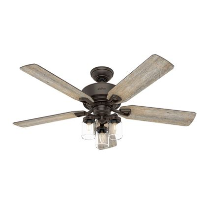"Picture of Hunter  52"" Devon Park Onyx Bengal Ceiling Fan with Light with Integrated Control System - Handheld, Model 54201"