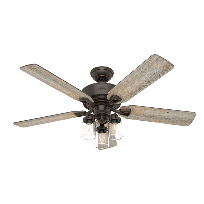 """Picture of Hunter  52"""" Devon Park Onyx Bengal Ceiling Fan with Light with Integrated Control System - Handheld, Model 54201"""
