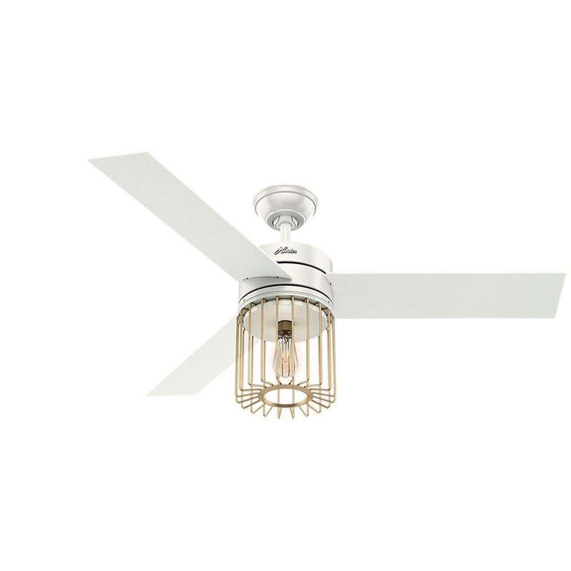 """Hunter 52"""" Ronan Fresh White Ceiling Fan with Light with Handheld Remote, Model 59238"""