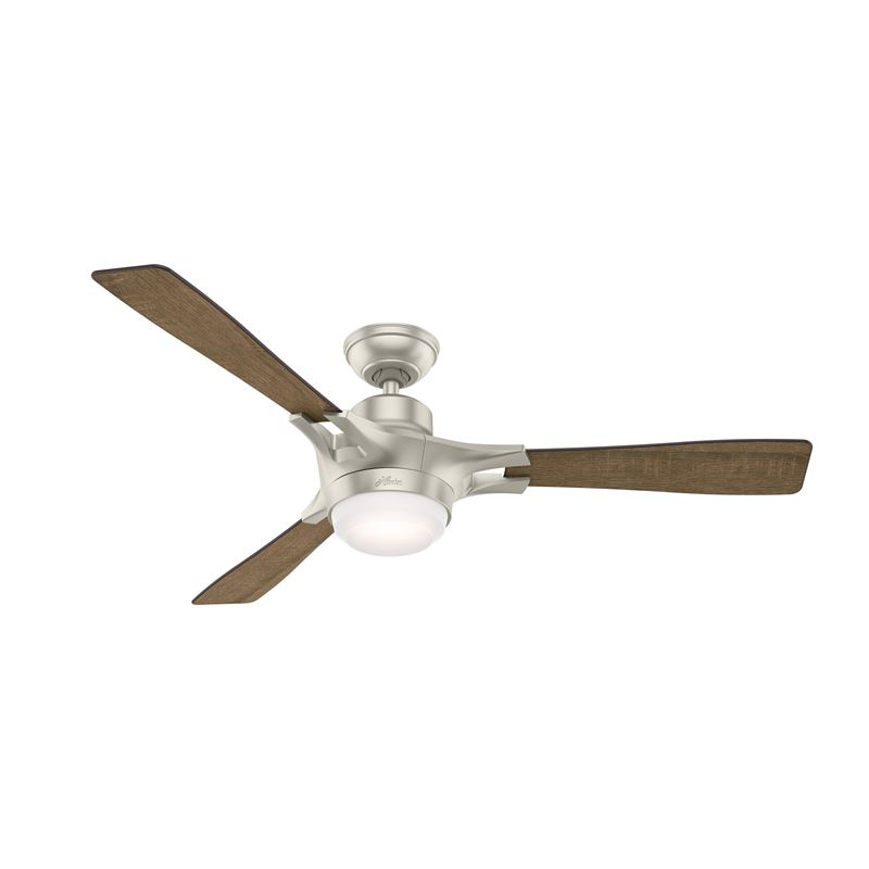 "Picture of Hunter WiFi Enabled HomeKit Compatible  54"" Signal Matte Nickel Ceiling Fan with Light with Integrated Control System - Handheld, Model 59378"