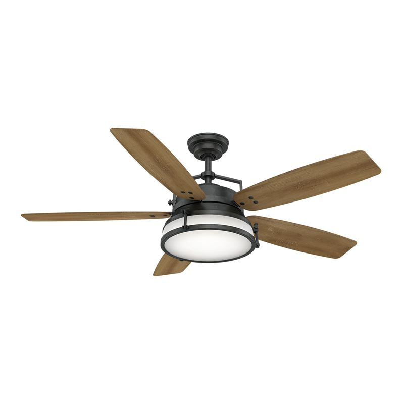 "Casablanca  56"" Caneel Bay Aged Steel Ceiling Fan with Light with Wall Control, Model 59359"