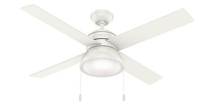 """Hunter 52"""" Loki Fresh White Ceiling Fan with Light, Model 54151"""