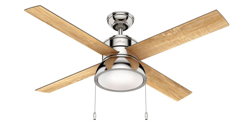 """Picture of Hunter 52"""" Loki Polished Nickel Ceiling Fan with Light, Model 54153"""