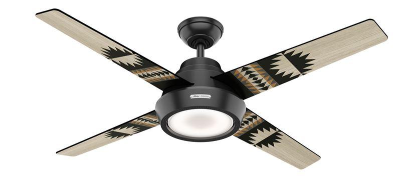 """Picture of Hunter 54"""" Pendelton Spider Rock/Eagle Rock Matte Black Ceiling Fan with Light, Model 59389"""