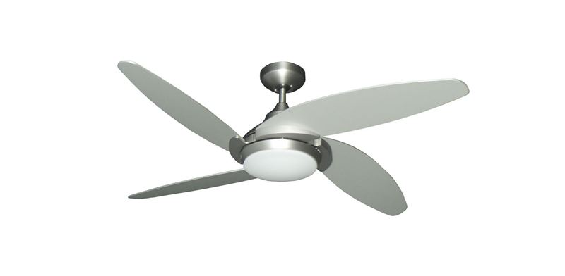 """Tuscan 52"""" Indoor Contemporary Satin Steel Ceiling Fan with LED Light and Remote"""