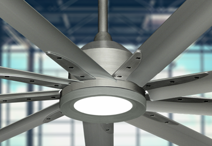 Picture of Liberator 96 in. WiFi enabled Indoor/Outdoor Brushed Nickel Ceiling Fan With 18W LED Array Light and Remote (BN-1)