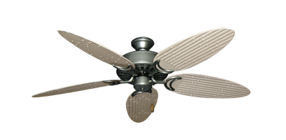 "Picture of Dixie Belle Brushed Nickel with 52"" Outdoor Bamboo Distressed White Blades"