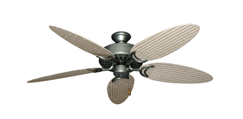"""Dixie Belle Brushed Nickel with 52"""" Outdoor Bamboo Distressed White Blades"""