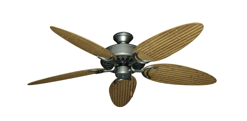 """Dixie Belle Brushed Nickel with 52"""" Outdoor Bamboo Walnut Blades"""
