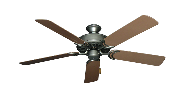 """Dixie Belle Brushed Nickel with 52"""" Outdoor Brown Blades"""