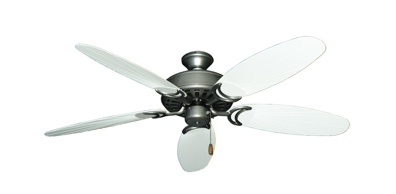 """Picture of Dixie Belle Brushed Nickel with 52"""" Outdoor Leaf Pure White Blades"""