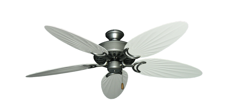 """Picture of Dixie Belle Brushed Nickel with 52"""" Outdoor Palm Pure White Blades"""