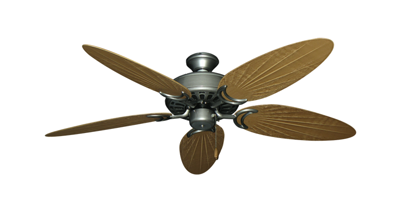 """Dixie Belle Brushed Nickel with 52"""" Outdoor Palm Walnut Blades"""
